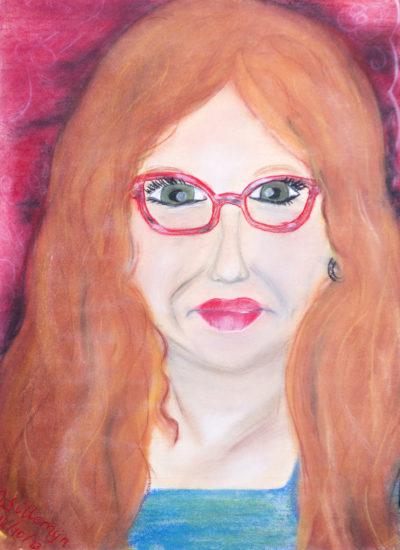 Zelfportret met pastelkrijt