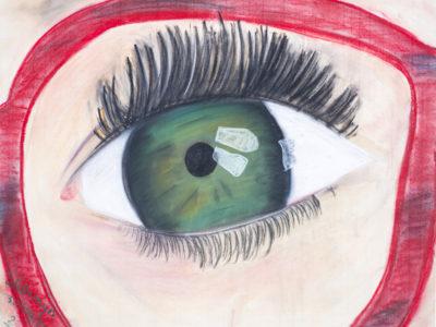 Pasteltekening oog