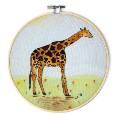 Geborduurde giraffe met aquarelverf